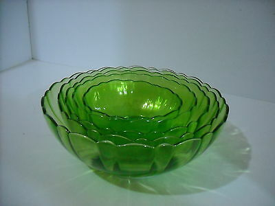 Ruffled Glass Bowls, Depression Green, 5 Pc Set