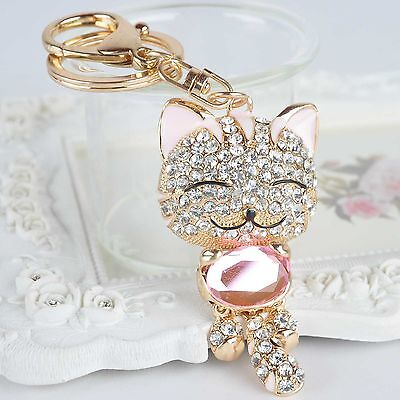 1Pc Rhinestone Cat Cute Lovely Purse Bag Car Charm Key Ring Keychain Gifts Pink