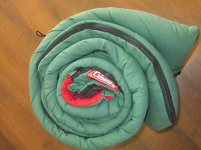 Vintage Coleman Flannel Sleeping Bag Green with Red & Black Plaid