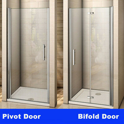 Frameless Pivot/Bifold Shower Enclosure Door Glass Screen Panel 760 800 900 1000