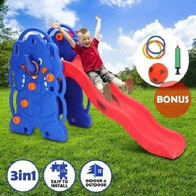 NEW 3-in-1 Indoor Outdoor Play Children's Sports Climber HDPE Plastic Slide Set