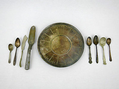 Lot of 9 Mixed silverplate ? Silverware Forks Spoons Andover Plate Antique Set