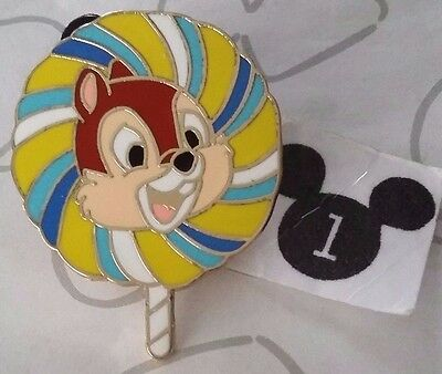 Chip and Dale Colorful Lollipop Mystery Candy Blue Striped Lollipops Disney Pin