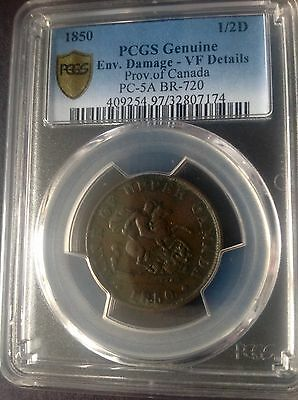 "1850 Bank of Upper Canada Half Penny Token; PCGS ""SECURE"" VF Details"