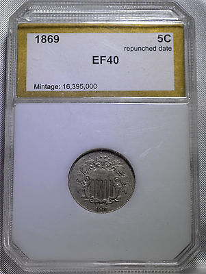 1869 Repunched Date Shield Nickel Five Cent Extra Fine Slabbed Free Shipping