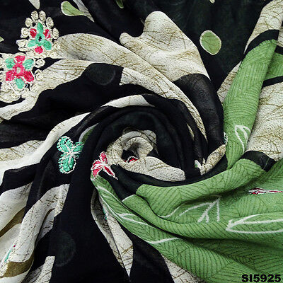 Designer Vintage Sari Embroidered Green Fabric Silk Blend Ethnic Saree Si5925