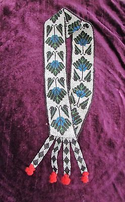 """ANTIQUE OJIBWA BEADED HATBAND stunning"""" beaded leaf """"patterns with wool pompoms"""