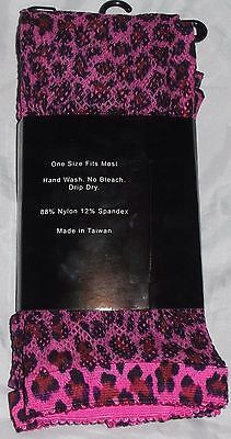 2 Pair of New LOVELY DAY Purple Leopard Print Fishnet Pantyhose ~ One Size