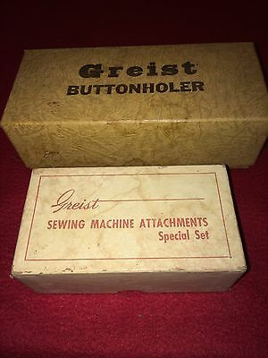 Vintage Greist Buttonholer And Sewing Machine Attachments Neat