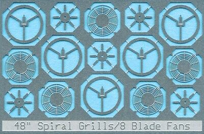 """BLMA Models #83 48"""" Fan Grill With Center Plate - (8 Blade) N Scale"""