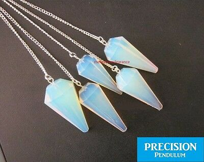 Solid Opal Gemstone 12-Faceted Precision Pendulum Crystal Chakra Healing Dowsing