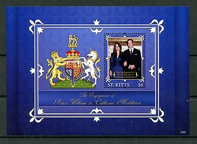 St Kitts 2010 MNH Royal Engagement Prince William Kate 1v S/S I Royalty Stamps