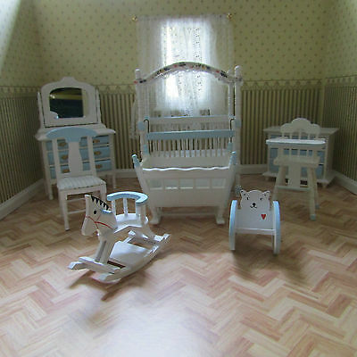 Streets Ahead Dolls House 8 Piece Blue Nursery Set 12Th Scale New