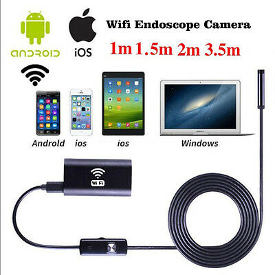 2M IP67 Endoscope Borescope Snake Inspection Camera Scope Android Iphone WIFI