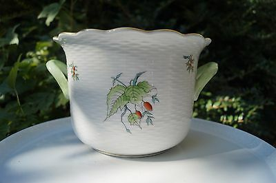 Herend Rosehip patterned large cache pot with handles handpainted handgolded