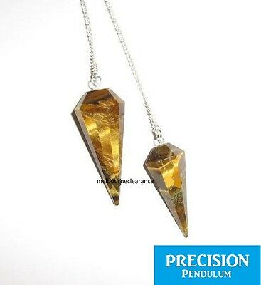 Solid Tiger Eye 12-Faceted Precision Pendulum w/ Chain Healing Crystal Gemstone