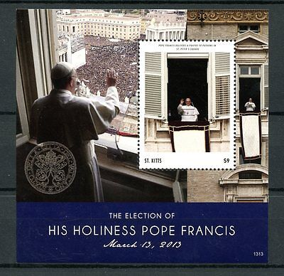 St Kitts 2013 MNH Pope Francis Election 1v S/S St Peters Square Popes Stamps