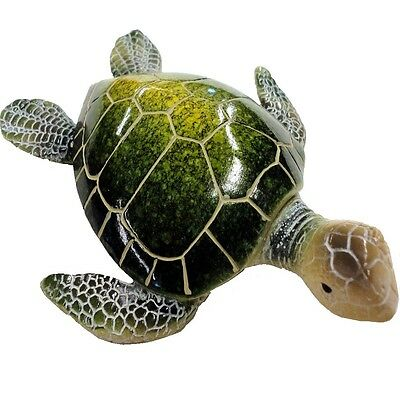 "Sea Turtle Table Decor - Resin, Green & Gold Accent - Felt Bottom - 6.75"" X 5.5"""