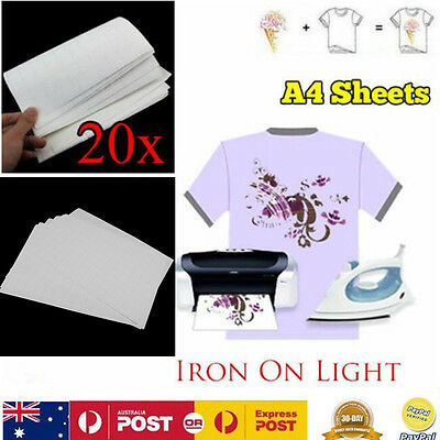 20 Sheets A4 Iron Heat Transfer Paper Light Color T-shirt Fabric Thermal Injet