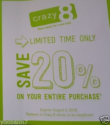 Crazy 8 ~~~{ 20% OFF }~~~ Your ENTIRE Crazy8 Purchase ~~~ Expires 2-9-2017
