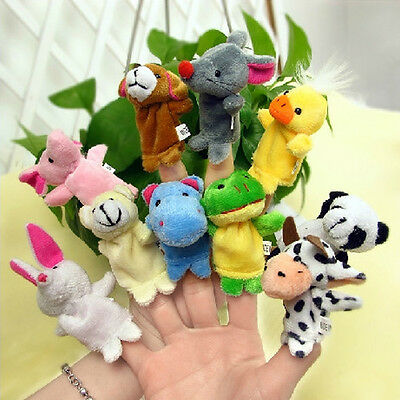 10x Velvet Finger Animal Toy Puppet Play Learn Story Party Bag Fillers Farm Zoo