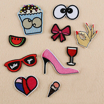 Bow Eyes Fruit Embroidered Sew Iron on Patch Cloth Badge Bag Applique Decoration