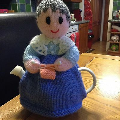 Hand Knitted Old Lady 2 Pot Tea Cosy