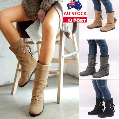 AU Ladies Mid-Calf Boots Women Lace Up Low Heel Buckle Shoes Warm Winter Boots