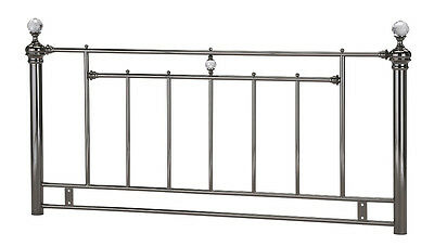 4ft6 Double Metal Headboard for Bed in Black Nickel (Smoked Chrome) crystals