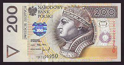 POLAND  -  200 zlotych,1994  -  replacement  -  P 177b  -  UNC