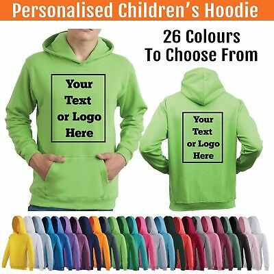 Personalised Childs Hoodie Custom Printed Kids Hoody Childrens Hooded Jumper
