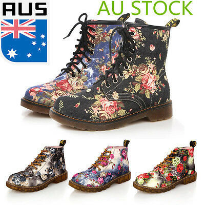 AU Womens Ladies Floral Low Heel Ankle Boots Lace Up High Top Retro Casual Shoes