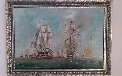 British and French Ship Battle on open sea - original oil painting by Franco