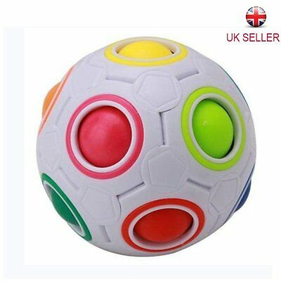 Magic Rainbow and White Spherical Ball Shaped Cube Puzzle Toy Kids Gifts