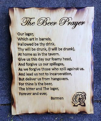 The Beer Prayer Rustic Pine Timber Sign