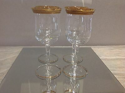Reduced ~ Lovely Bohemia Crystal'gold Florence' Set Of 4 Sherry/ Port Glasses