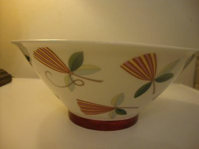 ARABIA FINLAND BOWL HARLEQUIN NEW CONDITION FLORAL PATTERN 22.5 cm DIAMETER