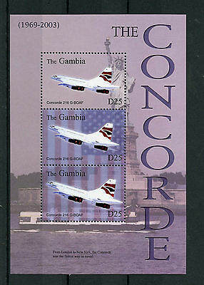 Gambia 2003 MNH Concorde Over New York NYC 3v M/S Statue Liberty Aviation Stamps