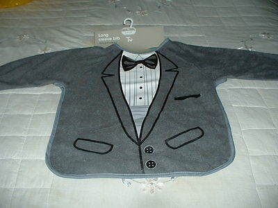 Baby Bib- Wedding/Evening Wear with Long Sleeves, Dickie Bow, Jkt & Shirt Effect