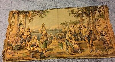 """Large Antique Belgian Tapestry/Wall Hanging Victorian Scene 19"""" x 38"""""""