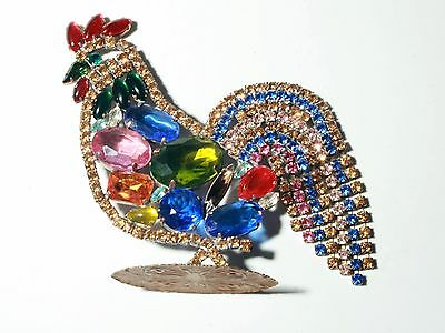 Free standing large Czech rhinestone Easter Christmas rooster cock ornament
