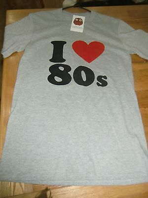 """BNWT Harper And Lewis Vintage I Love 80""""s T shirt Size Small"""