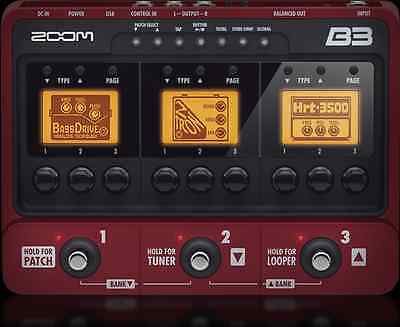 Zoom B3 Bass Effects & Amp Simulator Pedal