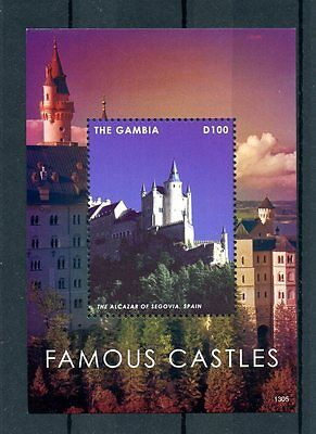 Gambia 2013 MNH Famous Castles 1v S/S Architecture Alcazar Segovia Spain Stamps