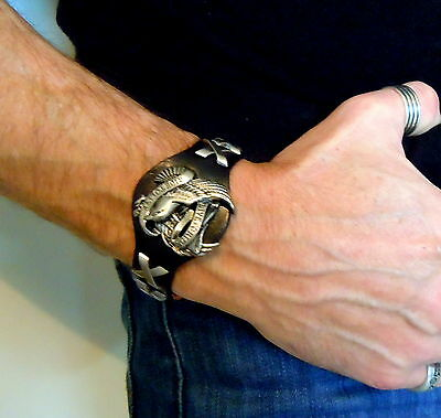 Men's Biker Black Leather Live To Ride American Eagle Cuff Bracelet Easy Rider