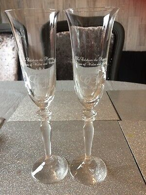 Pair Of Crystal Champagne Flutes Royal Wedding William And Kate 2011