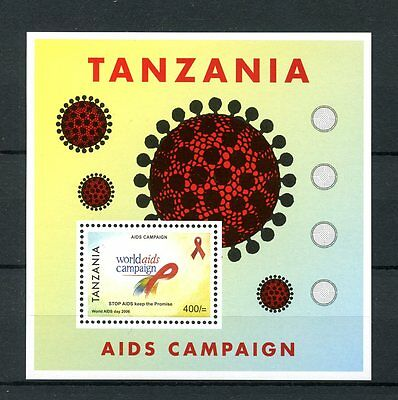 Tanzania 2007 MNH Aids Campaign 1v S/S World Aids Day Health Medical Stamps