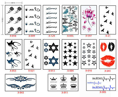 UK SELLER - Waterproof Flash Temporary Tattoos Stickers Temporary Body Art*