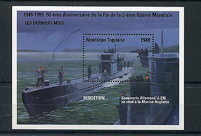 Togo 1995 MNH WWII VE Day 50th End World War II 1v S/S Submarines Ships Stamps