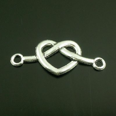 **15pcs Vintage Silver Alloy Heart Charms Connector Necklace Link Finding  38645